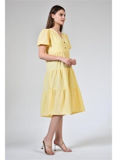 Rodi Jeans Kadın Düğmeli V Yaka Şifon Elbise DS21YB111937 Sarı